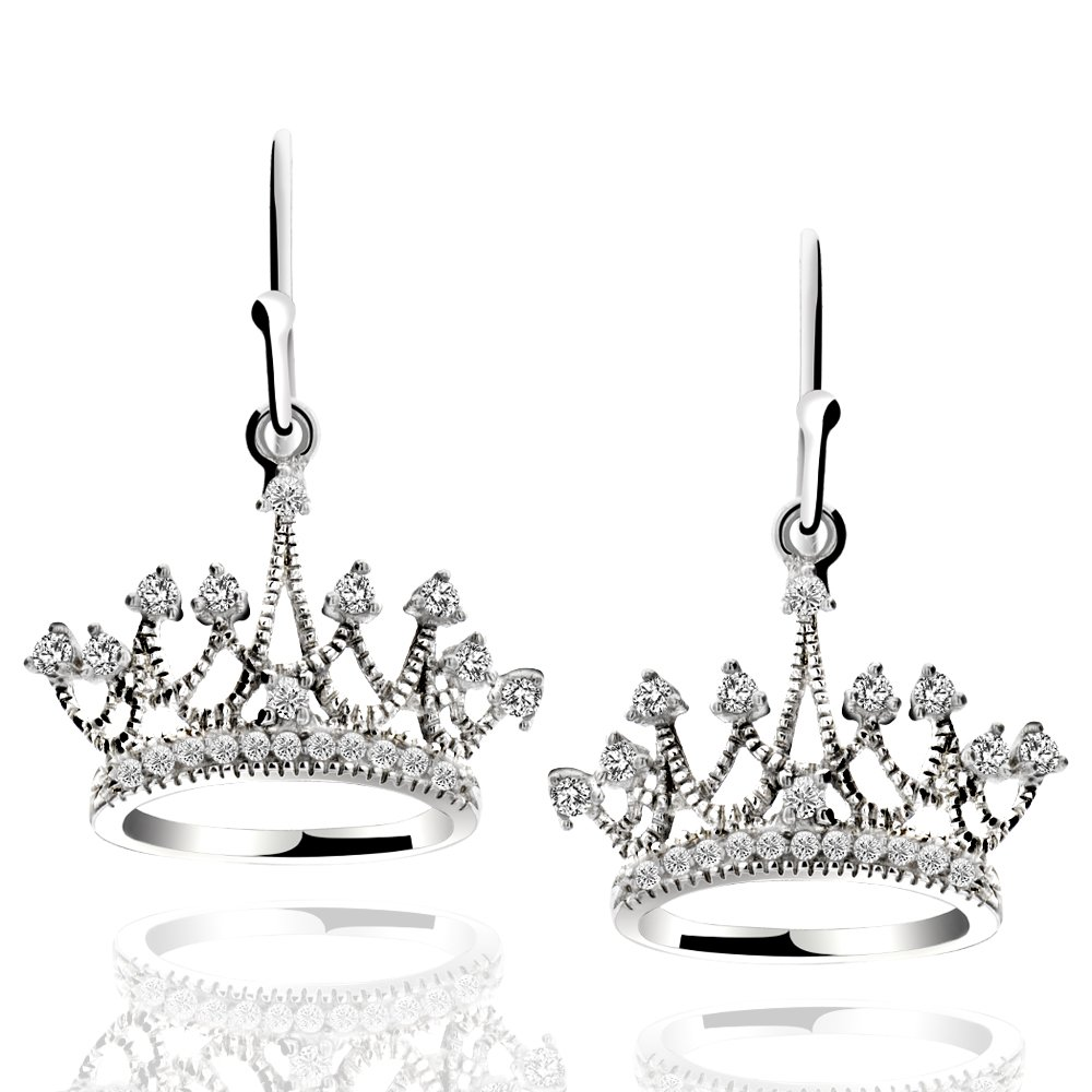 Sterling Silver Princess Crown Drop Earrings Cubic Zirconia Dangle Earrings jewelry