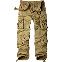 Jessie Kidden Men's Multi-Pocket Loose Cotton Cargo Pants, Casual Trousers with 9 Pockets(with Belt) #7533