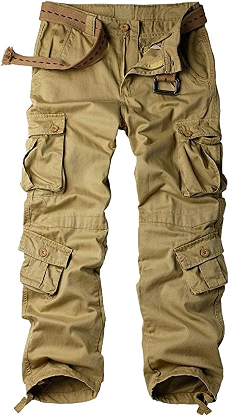 Mens Cotton Military Tactical Work Cargo Pants Casual Work Combat Trousers with Drawstrings