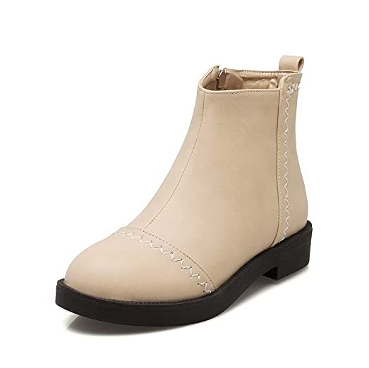 Women's Soft Material Zipper Round Closed Toe Low Heels Low-Top Boots
