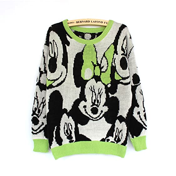 annisking womens christmas sweater mickey mouse pattern jumper pullover green 3j04 - Mickey Mouse Christmas Sweater