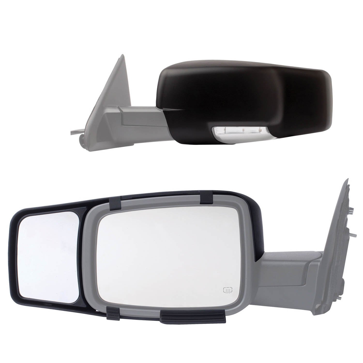 Fit system 80710 snap on black towing mirror for dodge ram 1500 2500 3500 pair