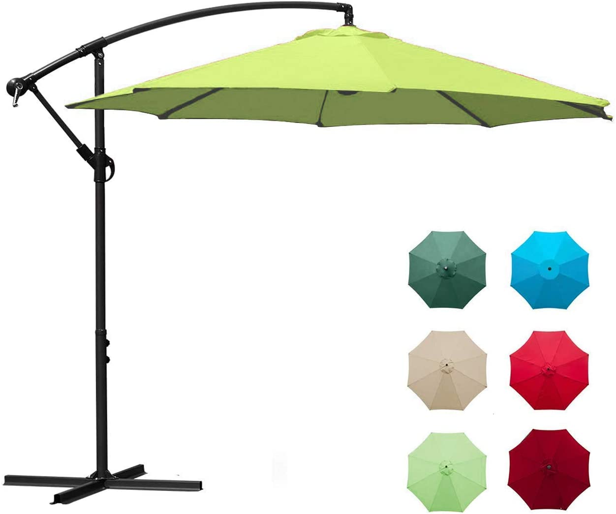 Aclumsy Offset Umbrella – 10Ft Cantilever Patio Hanging Umbrella, Easy Tilt Adjustment, Polyester Shade, 8 Ribs for Backyard, Poolside, Lawn and Garden – Apple Green