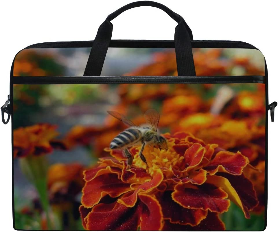Maxm Flower Bee Pollination Insect Meadow Laptop Shoulder Messenger Bag Case Sleeve for 14 Inch to 15.6 Inch with Adjustable Notebook Shoulder Strap