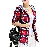 QianQian-AU Women Fashion Plaid Hoodie Shirt Long Sleeve Button-up Blouse Tops