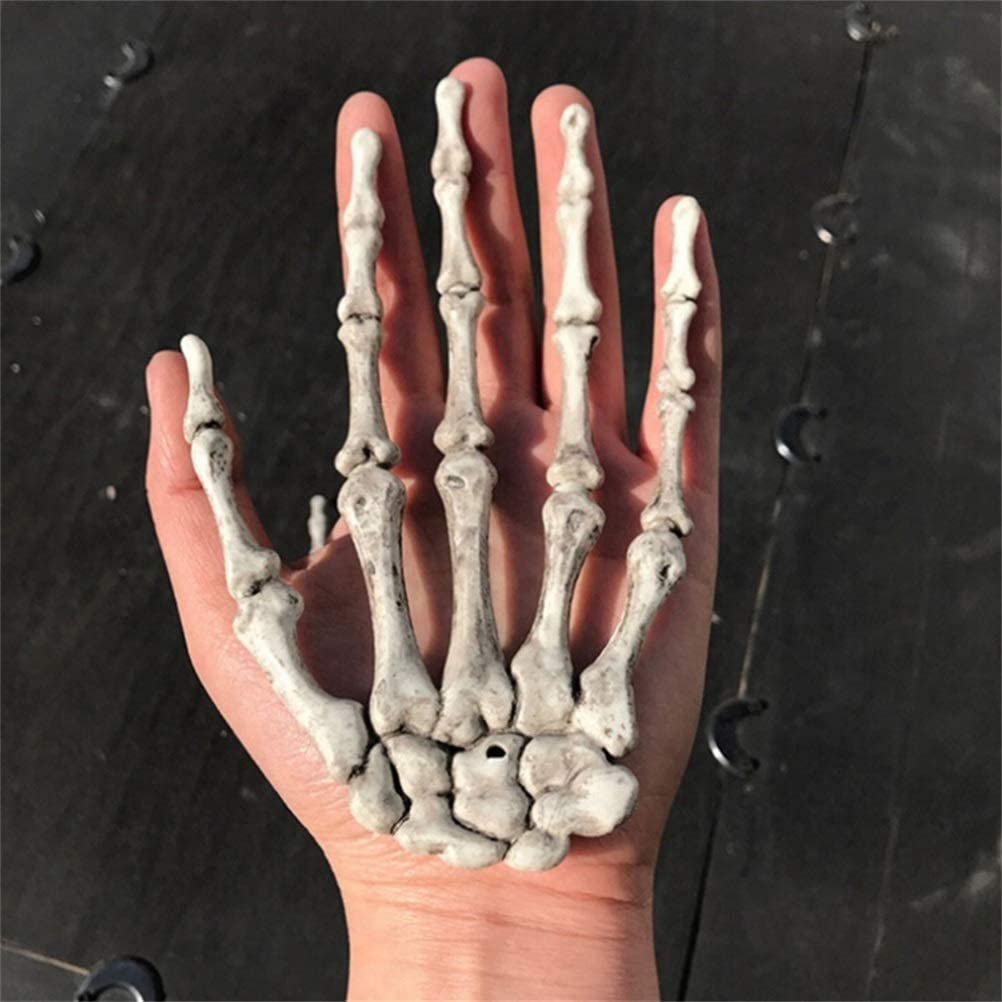 Ourine 1 Pair Halloween Skeleton Hands for Home Decoration Halloween Party Garden Decoration Haunted House Props