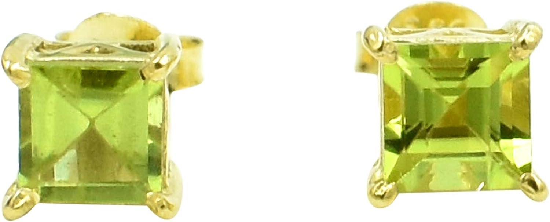 Silvesto India - Pendiente chapado en oro con piedra de corte de peridoto natural de plata de ley 925 para mujer