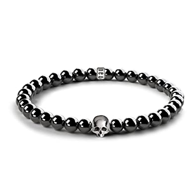Silverly Women's .925 Sterling Silver Skull Charm Stretchable Adjustable Ball Bracelet AKpmKVI
