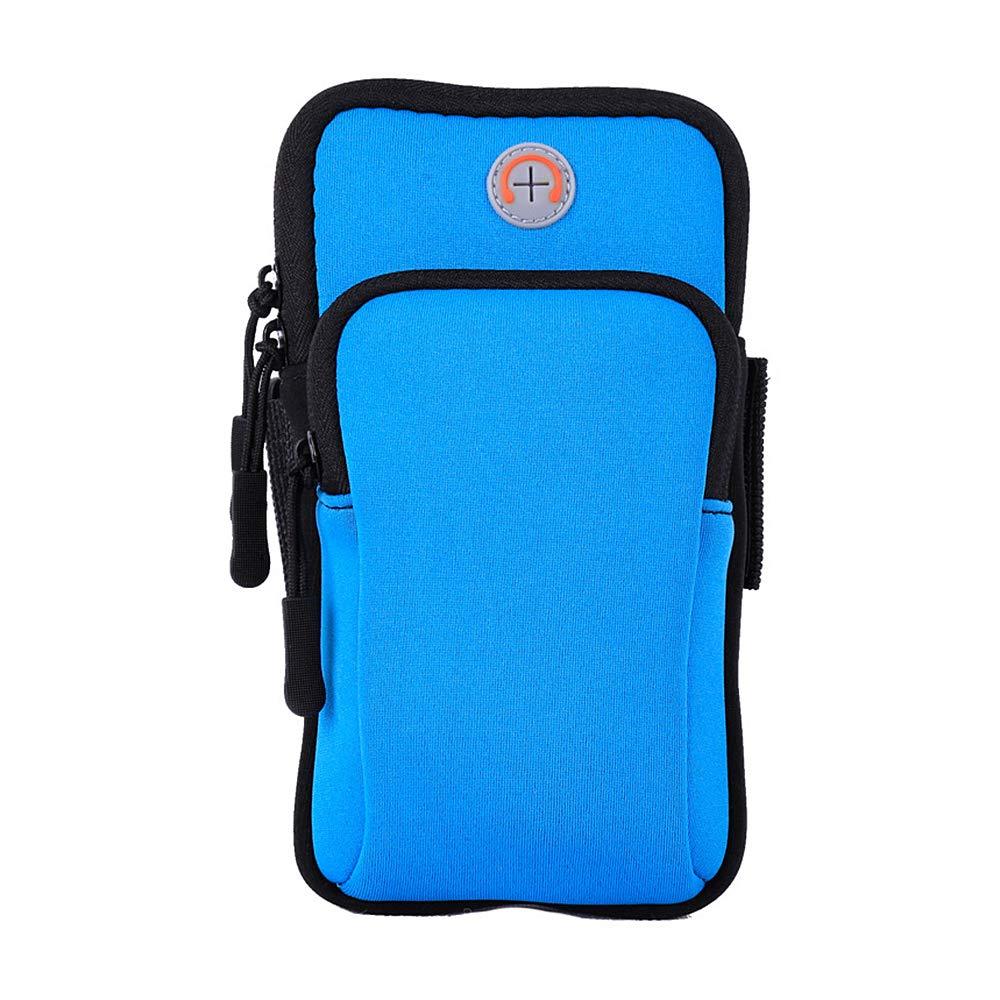 JKABCD Lauf-Armtasche, Outdoor-Sportarmband, Handy, schweißfeste Tasche, Schlüsselhalter für 10,2-15,2 cm Handys und Schlüssel blau