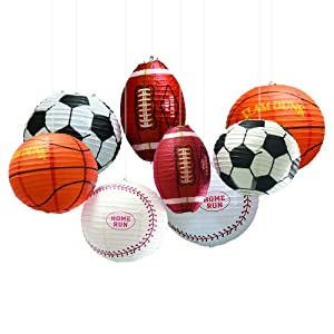 UNIQOOO 8Pcs Premium 12 Inch Assorted Paper Lantern Set, Soccer, American Football,Baseball,Basketball,Reusable Hanging Decorative Japanese Chinese Lanterns, Easy Assemble, Sports Fan Boy Decorations.