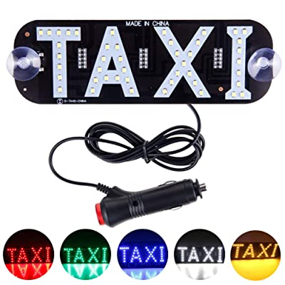 YSY Green LED Sign Decor, Taxi Flashing Hook on Car Window with DC12V Car Charger Inverter Taxi Light Lamp (Green, Switch Cigarette Lighter): Automotive
