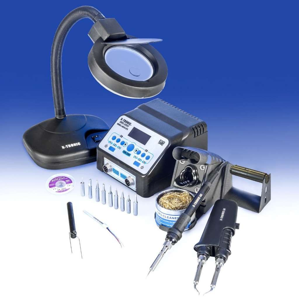 ''USA EXCLUSIVE'' X-TRONIC 8020-XTS - ''2 IN 1'' Antistatic Digital Soldering Iron Station and Hot Tweezers - ESD Safe - C/F - Brass Tip Cleaner & Flux - IC Popper - 5X Magnifying Lamp by X-TRONIC