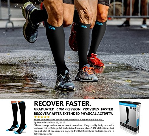 SB SOX Lite Compression Socks (15-20mmHg) for Men & Women - BEST Stockings for Running, Medical, Athletic, Edema, Diabetic, Varicose Veins, Travel, Pregnancy, Shin Splints, Nursing. (Black/Blue, L/XL)