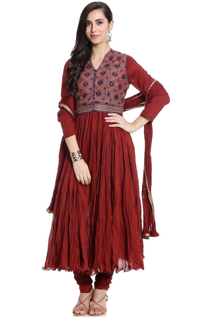 BIBA Women's Anarkali Cotton Suit Set 36 Maroon