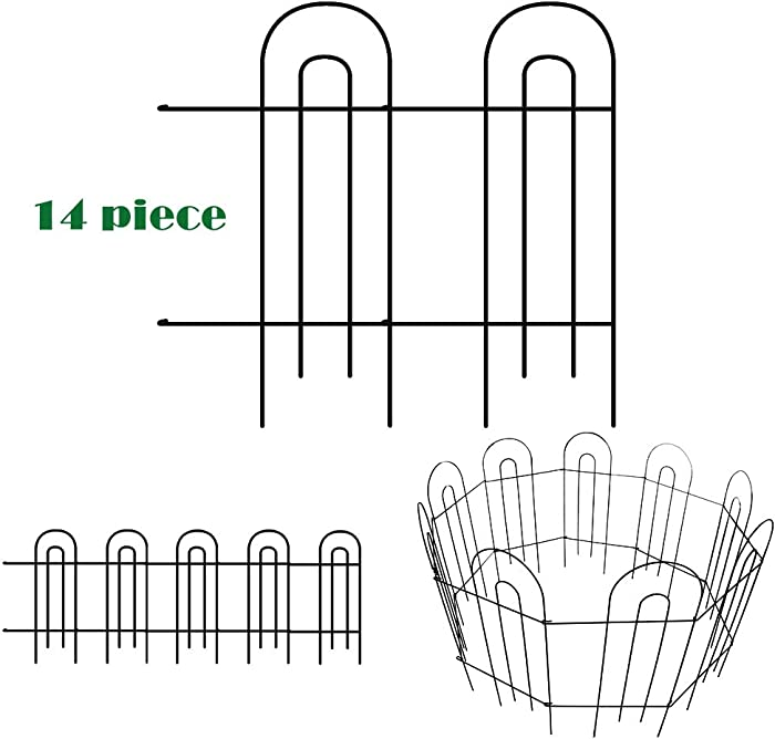 ERYTLLY Metal Garden Fence Lawn Yard Fence Temporary Movable Border Fencing Flower Bed Fencing Garden Border Folding Fence Garden Fence Animal Barrier 31.5in x 20ft,Pack of 14