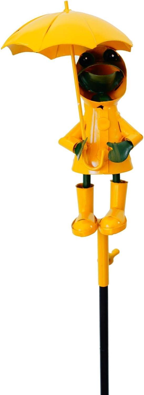 Regenmesser Frosch mit Schirm und Regenjacke Metall Niederschlagsmesser Echtglas