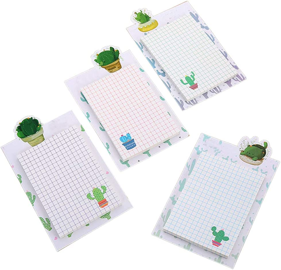 4 Pack Cactus Sticky Notes Fun Cacti Self-Stick Memo Sticky Note Pads Set for Kids Office by Baryuefull