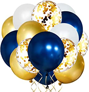 50 Pcs Navy latex balloon Kit Navy Blue & Pearl White & Gold Metallic Chrome & Gold Confetti Balloons (12 inch) Birthday Party Baby Shower Graduation Party Bachelorette Party Wedding Decorations