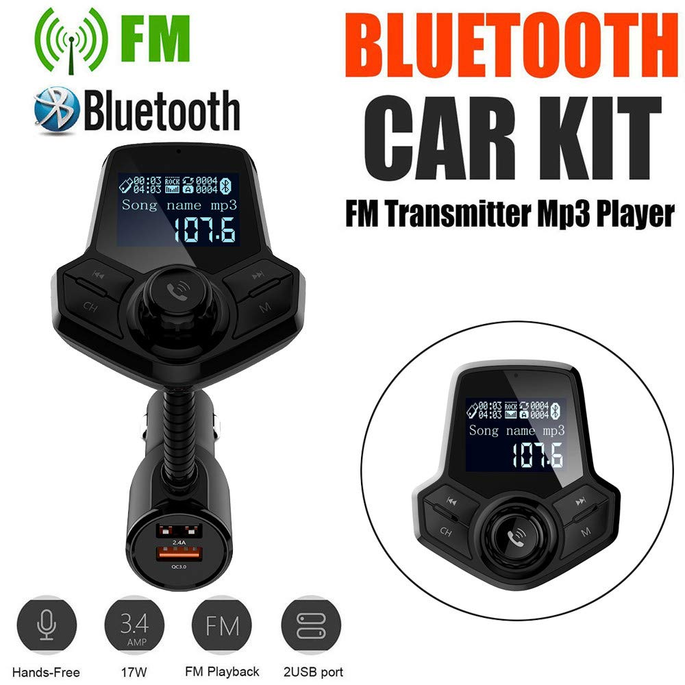 Pausseo BT Car MP3 Player FM Transmitter Wireless Radio Adapter USB Charger Portable Quick Charging Extending HUB Lossless Sound Audio Charger Digital Music Vehicle Player for Walking Jogging
