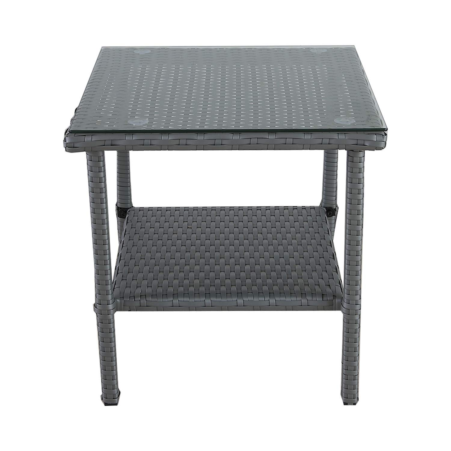 Outdoor PE Wicker Glass Top Side Table - Patio Rattan Square End Table with Storage, Grey by VALITA