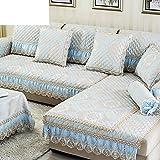 European-style Sofa Cushions/Simple Modern, Non-slip Mat/Leather Sofa Set Solid Wood/Sofa Towel Cover-A 70x140cm(28x55inch)
