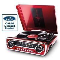 ION Audio Mustang LP - Centro de Música 4-en-1 con Diseño de Radio de Coche Clásico, con Giradiscos, Radio, USB y Entradas Auxiliares, además de Altavoces Estéreo a Bordo con Gran Sonido, Color Rojo