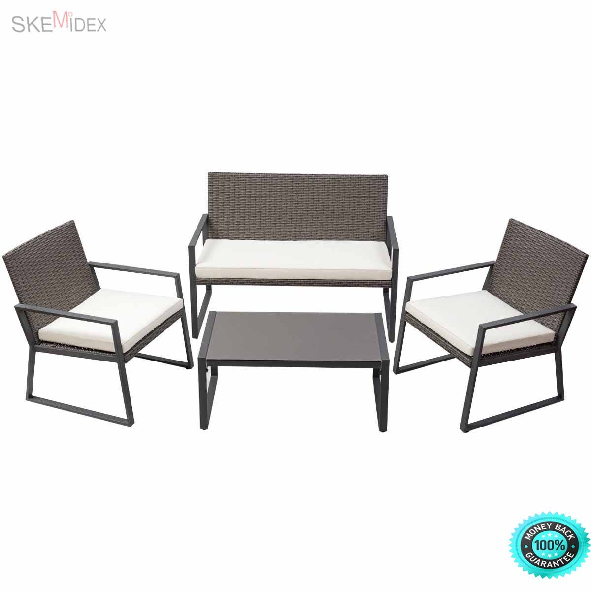 SKEMiDEX--- 4PCS Rattan Patio Furniture Set Wicker Cushioned Seat Sofa Garden Lawn Sofa This rattan sofa set adds additional modern and leisure element to your house. Compact design is perfect.