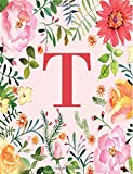 T: Monogram Initial T Notebook for Women, Girls and School, Pink Floral 8.5 x 11