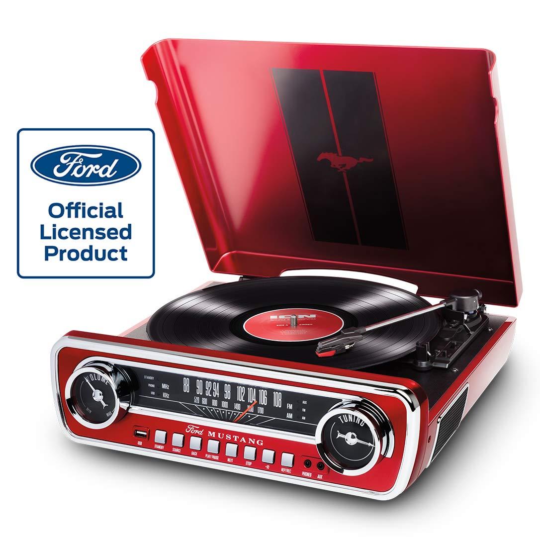 ION Audio Mustang LP - Chaîne Hi-Fi Rétro Ford Mustang 4-en-1 avec Platine Vinyle, Radio, Port USB et Prise AUX, ainsi que des Puissantes Enceintes Stéréo Intégrées - Finition Rouge product image