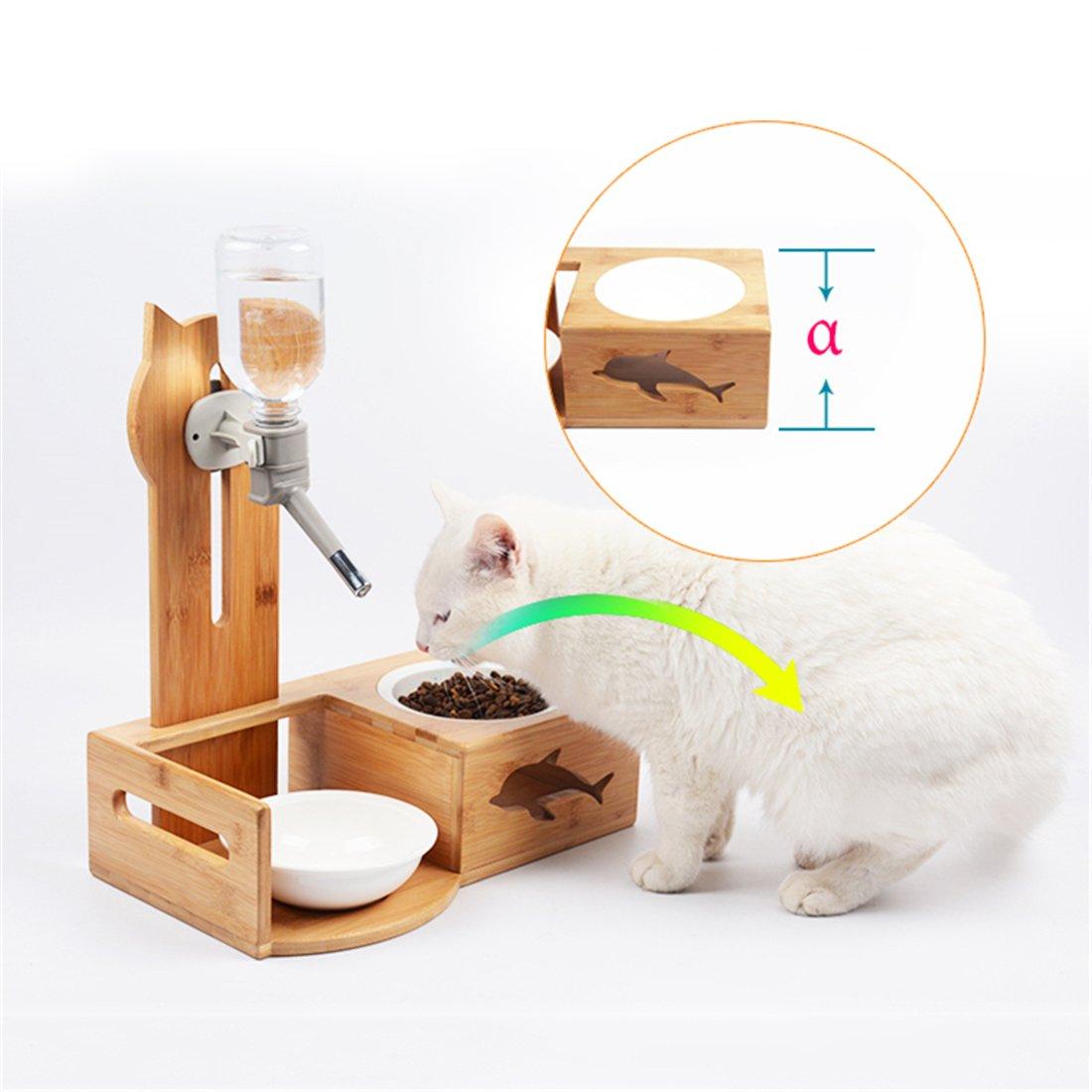 Zsypet Cat Waterer Bottle Automatico + Ciotola In Ceramica Con Con Con Supporti In Legno- Distributore D'acqua Per Alimenti Bevitore Per Piatti Per Cani Di Piccola Taglia Pet Dog Cat Puppy Kitten 42b109