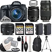 Canon EOS 7D Mark II Digital SLR Camera + Canon EF-S 18-55mm IS STM Lens + Canon 50mm 1.8 II Lens + Tamron 70-300mm Lens+ Backup Battery. All Original Accessories Included - International Version
