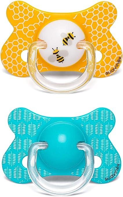 Suavinex - Pack 2 chupetes para bebés +18 meses. con tetina anatómica látex. color Abejitas Amarillo: Amazon.es: Bebé