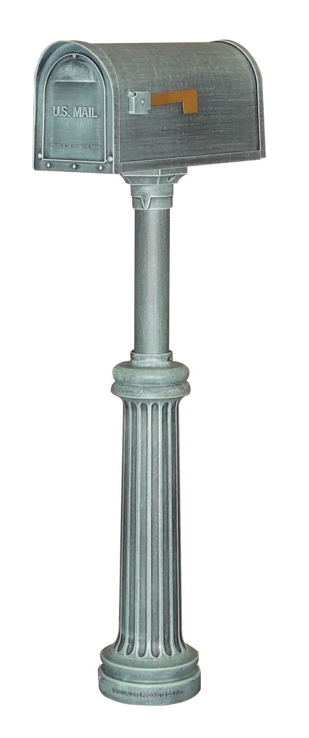 Special Lite Classic Curbside Mailbox with Bradford Direct Burial Mailbox Post - Verde Green