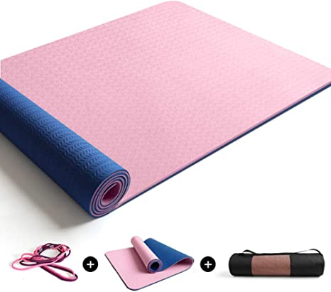 Folove Waterproof Exercise Mat Tpe Not Slip Fitness Mat High Density Anti Tear Exercise Mat 10mm Thick Workout Mat With Carrying Strap And Mesh Bag E 183x68x0 6cm Amazon Co Uk Sports Outdoors