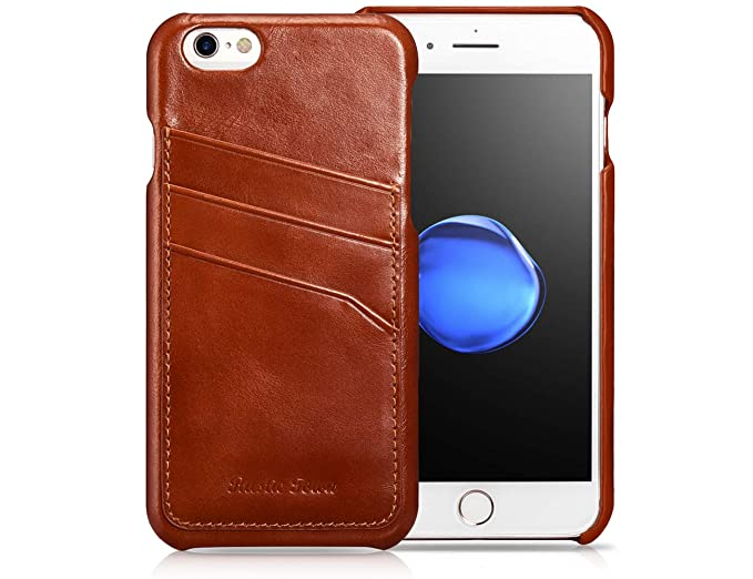 the best attitude 4f928 27b95 iPhone 6S Plus Wallet Case, Genuine Leather iPhone 6 Plus Wallet Case with  Card Holder - Snap on Case with 3 Card Slots, Durable Shockproof Cover for  ...