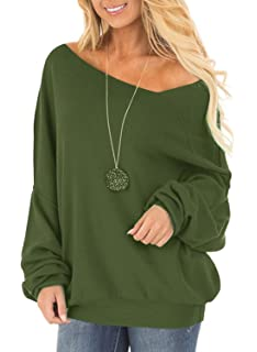 8c4c54663159c Off One Shoulder Sweatshirt for Women Long Sleeve Pullover Slouchy Baggy  Tops