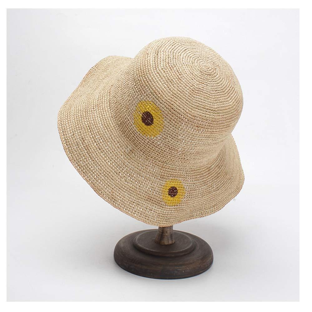 SHENTIANWEI Beach Hat Sun Hat Collapsable Husk Hat Ladies Summer Hand Hook Sun Hat Embroidery Sun Hat Sunscreen