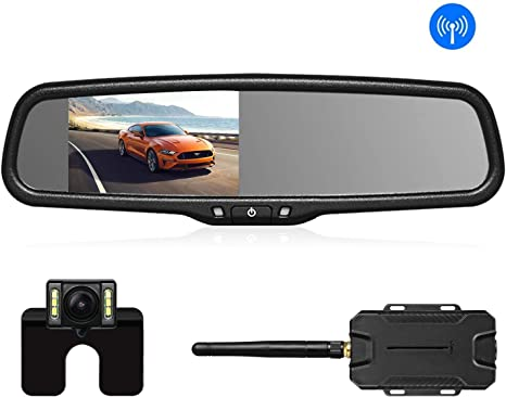 "HD Backup Parking Reverse Camera Wireless 7/"" Car LCD Rear View Mirror Monitor"
