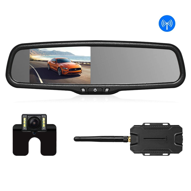 AUTO VOX Wireless Reverse Camera Kit Car Backup Camera with Rear View Mirror Monitor and IP 68 Waterproof Reversing Camera LED Super Night Vision Back Up Car Camera Kit Easy Installation
