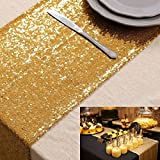 ShiDianYi 10 Pieces-12 x108 Gold Sequin Table Runner Wedding Party Catering Event