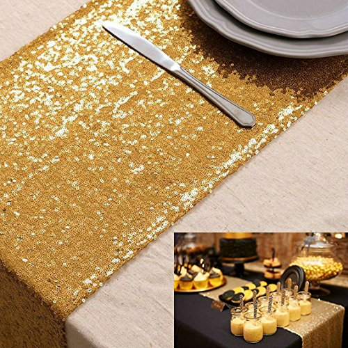 Wholesale Shinny Gold Sequin Table Runner 12''96'' Gold Sequin Table Runner For Sale ¡