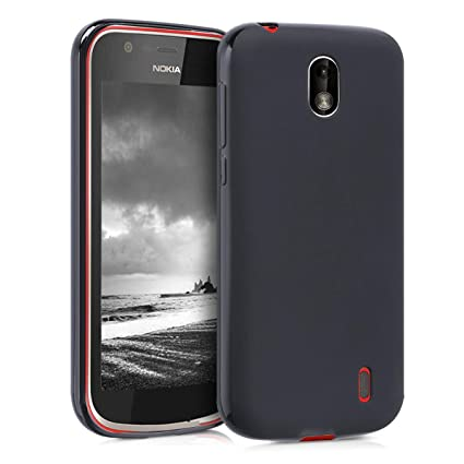 the latest 91079 24b4e kwmobile TPU Silicone Case for Nokia 1 - Soft Flexible Shock Absorbent  Protective Phone Cover - Black Matte
