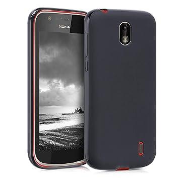kwmobile Funda para Nokia 1 - Carcasa para móvil en [TPU Silicona] - Protector [Trasero] en [Negro Mate]
