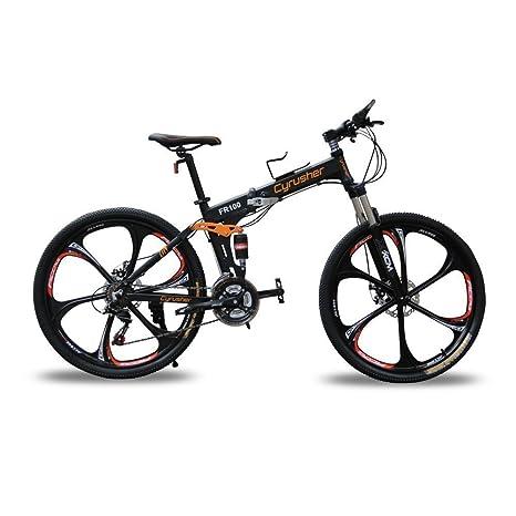 Cyex CyrusherFR100 Shimano M310 ALTUS - Bicicleta plegable de 24 velocidades, marco de aluminio de 17 pulgadas y 26 pulgadas, negro: Amazon.es: Deportes y ...