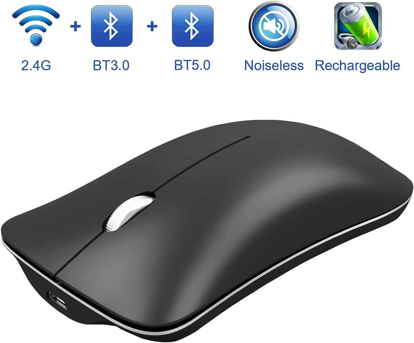 Bluetooth Wireless Mouse for Laptop, Lersyco Rechargeable Silent Computer Mouse with 3 Modes(BT5.0, BT3.0 and USB 2.4GHz), 500mAh, Portable Mouse for Desktop, MacBook, PC(Black)