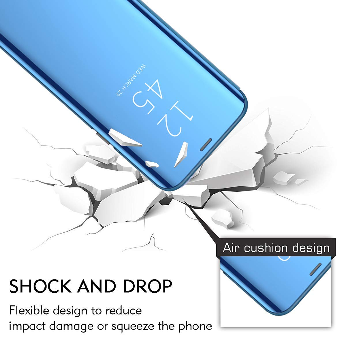 for iPhone 6 Plus //6s Plus Case S8 Case Electroplate Clear Smart Kickstand Mirror View Flip Cover Sleep Wake