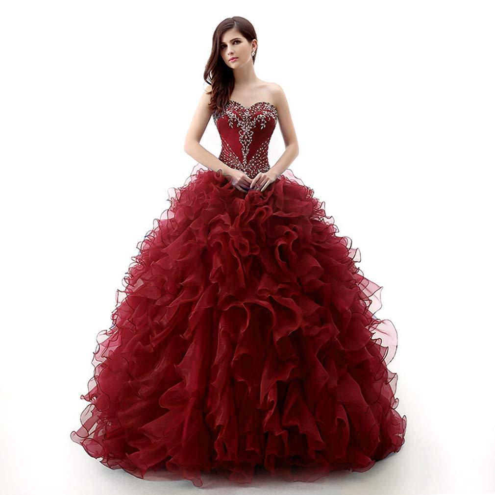 Burgundy Fashionbride Women's Organza Sweet 16 Dresses Prom Ball Gown Quinceanera Dresses ED99