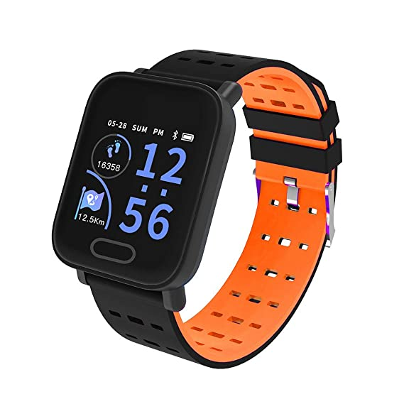 Reloj Inteligente para Hombres Mujeres Bluetooth Smart Wristwatch Teléfono Mate Pantalla Redonda Completa SIM para Android para iOS (Naranja): Amazon.es: ...