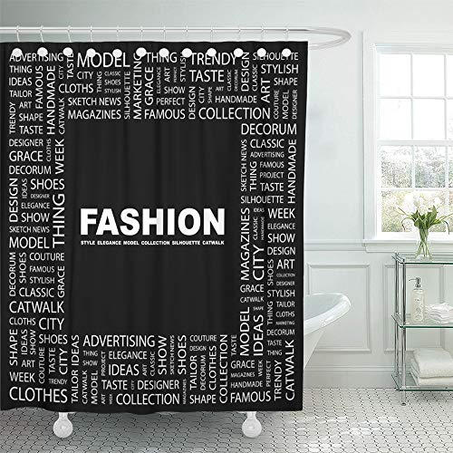 Emvency Shower Curtain Waterproof Adjustable Polyester Fabric Model Word Collage on Black with Different Association Terms Catwalk Text Show Cloud 72 x 72 Inches Set with Hooks for Bathroom
