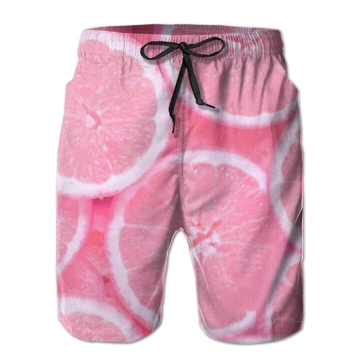 Mens Lemon Slices Summer Holiday Quick-Drying Swim Trunks Beach Shorts Board Shorts